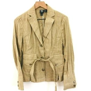 Worth Pinstripe Tie Front Blazer Jacket
